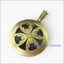 1Pc Antiqued Bronze Round Flower Picture Locket Frame Charms Pendants 32mm