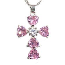 Xmas Gifts Heart Stone White Gold GP Rhinestone Crystal Cross Pendant Necklace
