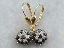 2.5 Ct Blue Sapphire Diamond Cluster Drop/Dangle Earrings 9CT Yellow Gold Finish