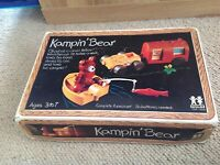 TOMY Vintage Kampin ' Bear - Wind Up Complete 6 Piece Set 1974 Rare Collectible