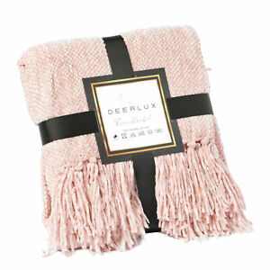 New DEERLUX Decorative Chenille Throw Blanket with Fringe