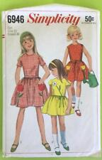 Vintage 1966 Simplicity 6946 Girl's Dress with Transfer Pattern Size 12