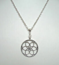 "Lotus Flower Mandala Geometric Pendant 21"" Chain Necklace - Yoga Meditation"