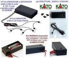 KATO Kit 3V N.6 MICRO PLATES mm.5x8 LED WHITE LOCOMOTIVE WAGONS DIORAMAS I-N