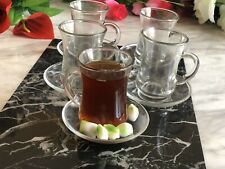 Designer Glass Turkish Arabic Tea Coffee Serving Set 6 Cups 6 Saucers 12pcs