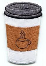 Cup of coffee embroidered applique iron-on patch S-1507