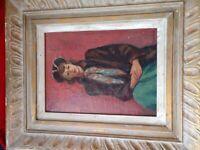 original Edgar Britton canvas oil painting in the original antique frame