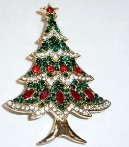 Sparkling Crystal Jewel Decorated Christmas Tree Brooch / Pin