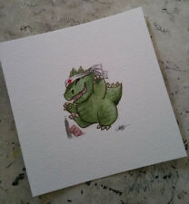 watercolor painting Cute Godzilla Goji Japan Kaiju Happy Kawaii