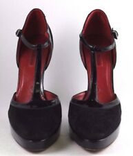 Cesare Paciotti T-strap Patent and Suede Heel Sz 39
