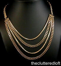 "BARCLAY 4 Four Strand Goldtone Necklace Adjustable 15"" to 18""  Vintage Choker"