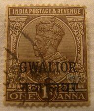 India Gwalior Stamp 1928 Scott 73 A48  One Anna