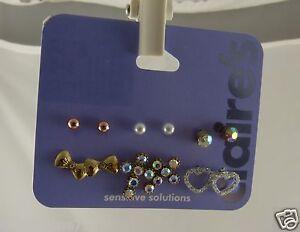 Claire's Earrings studs pierced heart crosses cross balls assortment 6 pairs