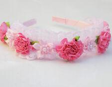 Girls Pink Princess and Fairy Rosette Headband
