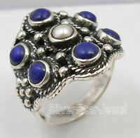 925 Solid  Silver LAPIS LAZULI & AAA PEARL Ring Any Size Mother's Day Presents