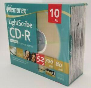 Memorex LightScribe CD-R80 Disc 10 Pack / CDR / 52x / 700MB 80Mins New & Sealed