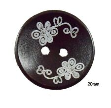 10 marron foncé bois boutons, motif fleuri, cardigan, 20mm-BU1054