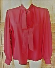 YVES SAINT LAURENT/ CHEMISIER  VINTAGE 80'S  / 100% SOIE ROUGE