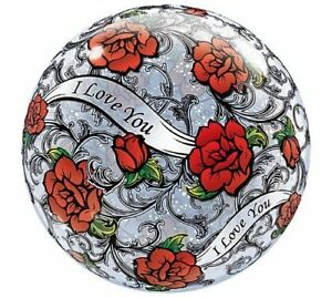 """I Love You Balloon Red Rose Filigree  22"""" Bubbles Qualatex Round Long Lasting"""