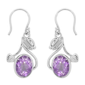 Nature Inspired 1.5 Ctw Oval Pink Amethyst 925 Silver Dangle Earring