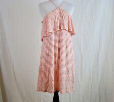 Splendid Striped Halter Linen Blend Dress Orange White Lined - NWT Size L Large