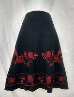 Dorothy Perkins skirt 14 black red embroidered beaded boho
