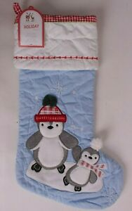 Pottery Barn Kids classic quilted stocking Christmas, blue, penguin