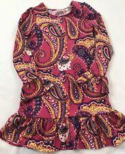Lands End Kids Girls Sz 6X-7 Years Pink Multi-colored Paisley Print Ruffle Dress