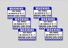 24 / 7  Monitored alarm Warning stickers x 6 pack for windows