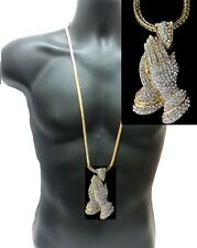 "SET Iced Out Necklace Praying Hands Jesus Gold 36"" Franco Chain Crystal Hip Hop"