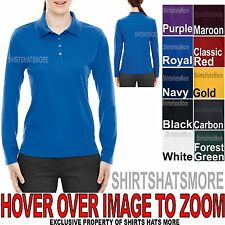 Ladies LONG SLEEVE Polo Shirt Moisture Wicking Womens Top S-XL, 2XL, 3XL NEW
