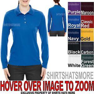 Ladies LONG SLEEVE Polo Shirt Moisture Wicking Womens Top S-XL, 2XL, 3XL NEW