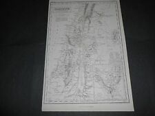 1860 LARGE ANTIQUE MAP PALESTINE AND PENINSULA OF MOUNT SINAI ENGRAVED BY HUGHES