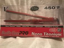 "NEW BABYLISS PRO NANO TITANIUM 1"" ULTRA THIN STRAIGHTENING IRON RED"