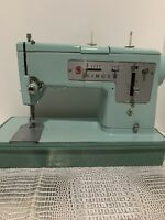 Vintage Singer 348 Turquoise sewing machine Includes Case, Pedal, Accessories