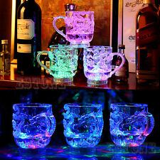LED Dragon Inductive Glasses Beer Cup Rainbow Color Flashing Light Glow Mugs