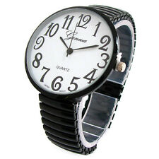 Black Super Size Case Easy to Read Stretch Band Women's Watch