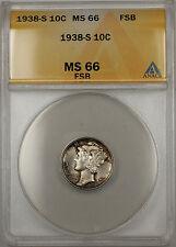 1938-S Silver Mercury Dime 10C ANACS MS-66 Full Split Bands (Light Toning 11 A)