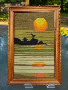 "Vintage Mid-Century~Framed Needlepoint~Seascape Sunrise or Sunset 10"" x 15"" 🌞"
