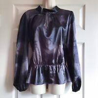 Daisy Fuentes Size Medium High Neck Top Mottled Black & Brown Satin Silk Texture