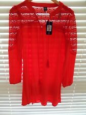 Ladies DENIM CO Red Boho Crochet Long Top/Dress - L Size 14 - BNWT RRP $39