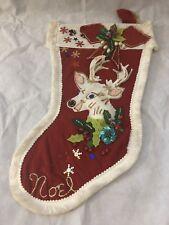 Vintage Felt Stocking Reindeer #1