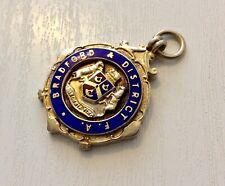 Superb Quality Vintage Very Heavy Solid Silver & Enamel Bradford Football Medal