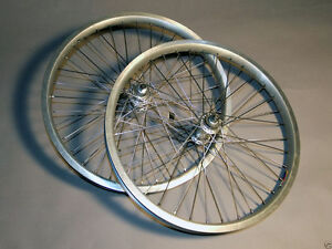 "Old School Racing BMX Bike Silver 20"" Racing Wheel Set With Hubs and Spokes"