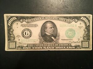 $1000 Federal Reserve Note - Series 1934 A - Chicago District
