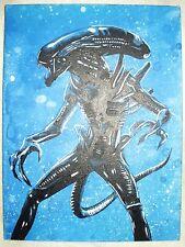 Canvas Painting Alien Movie Warrior Blue Art 16x12 inch Acrylic