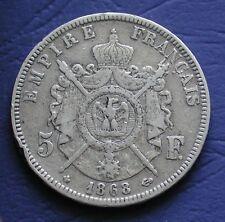MONETA COIN MONNAIE LOUIS NAPOLEON BONAPARTE 5 FRANCS 1868 BB ARGENTO SILVER #2
