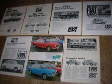 7 full-page b/w & colour Fiat adverts 1964-69 : 850  1100  125  124  Coupé etc