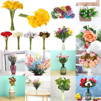 Vintage Artificial Fake Flowers Roses Peony Calla Bridal Bouquet Party Home Deco