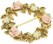 1928 Gold Tone Porcelain Rose Pink Floral Wreath with Faux Pearl Brooch 31922